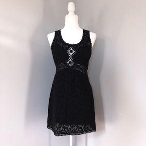 Free People Sleeveless Black Lace Dress